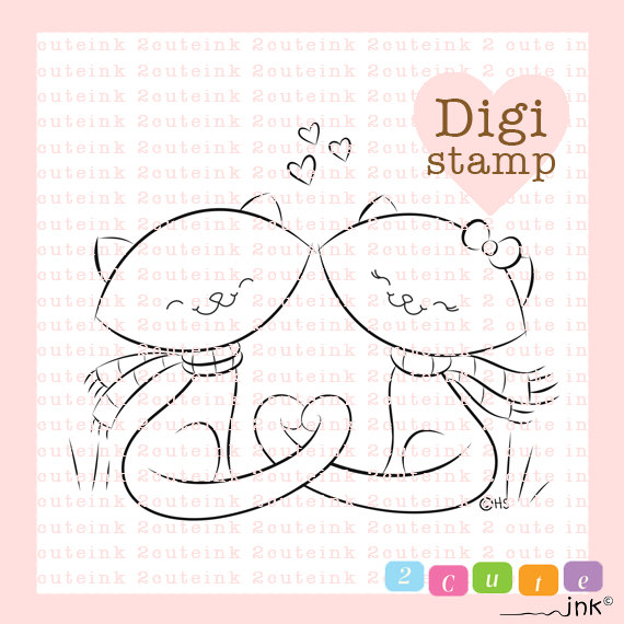 Fall In Love Kitties Digital Stamp Line Art for Card Making, Paper ...