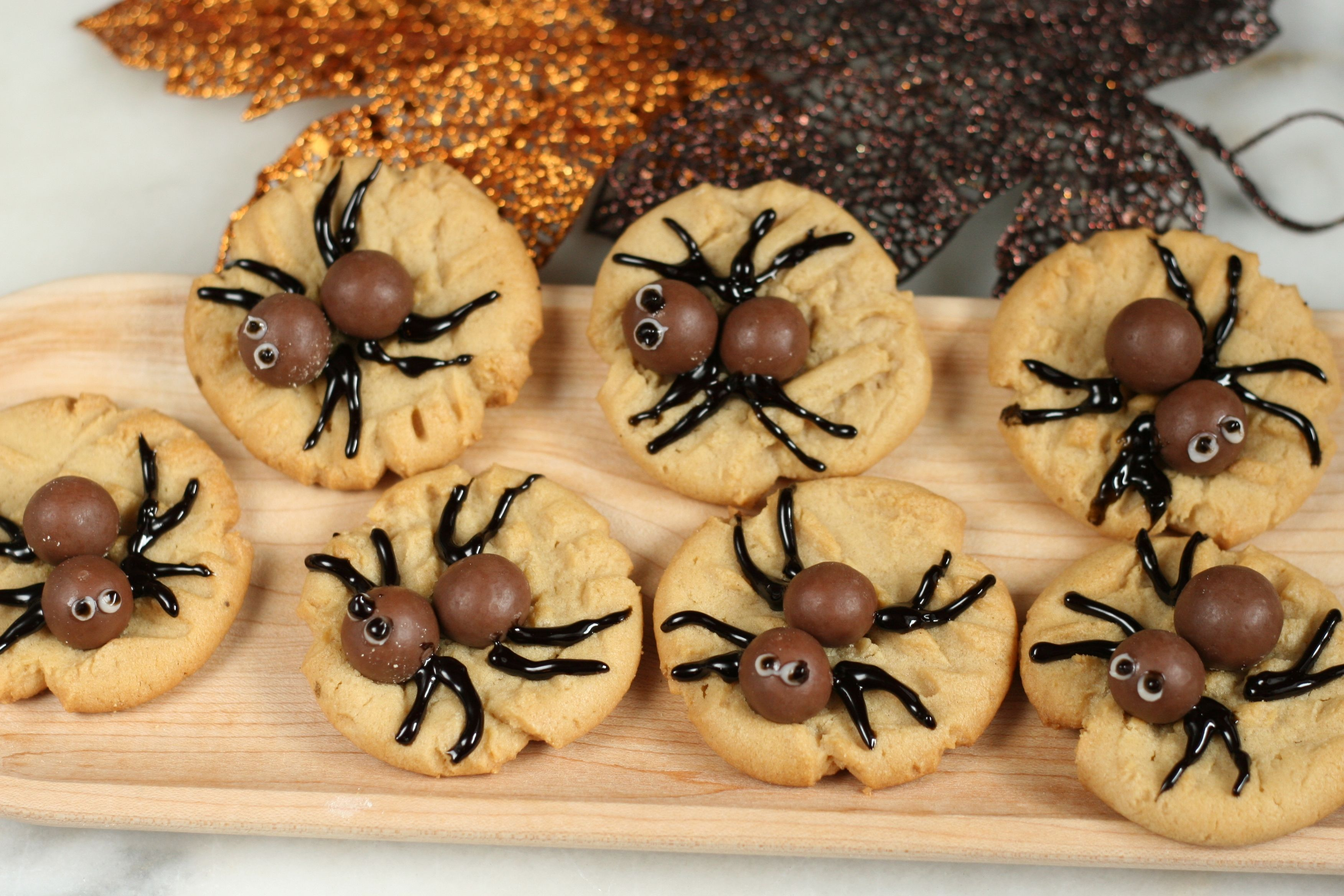 Spooky Peanut Butter Spider Cookies are crawling into your
