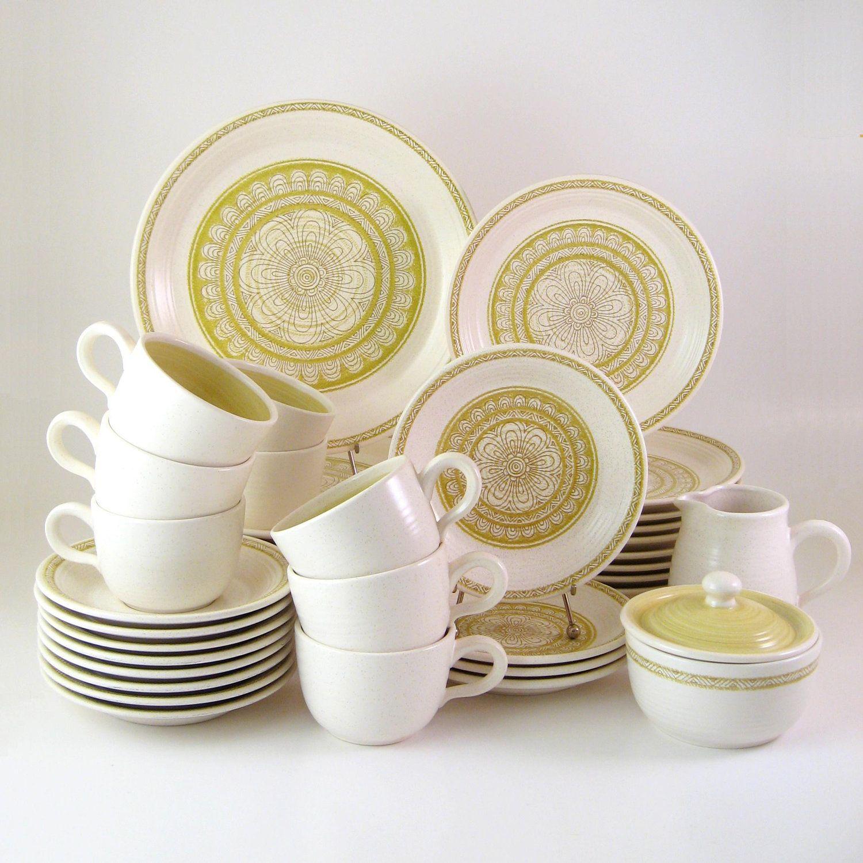 vintage franciscan dinnerware set service for 7 plus hacienda green earthenware vintage dishes 1960s - Dishware Sets
