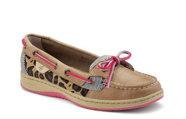 Pink lace cheetah Sperrys   Womens boat