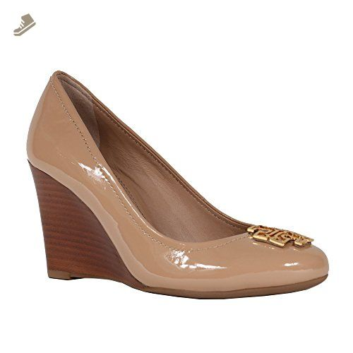 Tory Burch Melinda Wedge 85 mm Tumbled Leather TB Logo (8, Tory Beige Patent