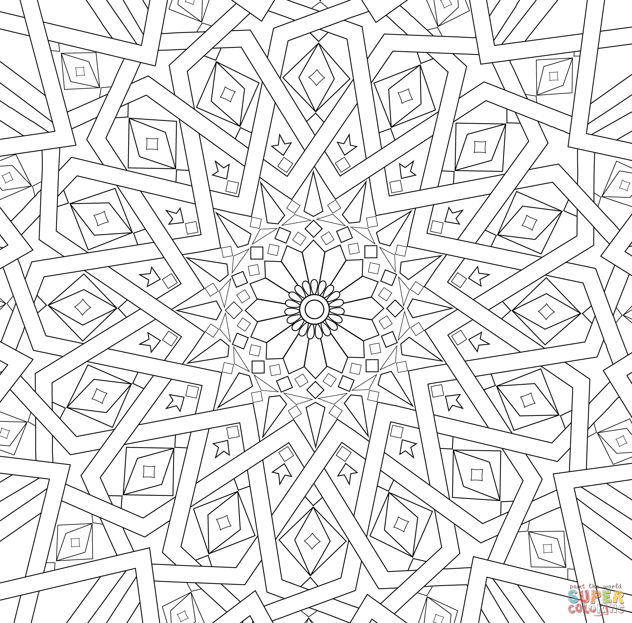 Traditional Islamic Mosaic Coloring Page Supercoloring Art