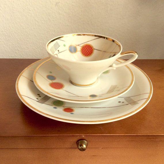 Vintage Tea cup saucer plate trio German Mid by Berlinattic