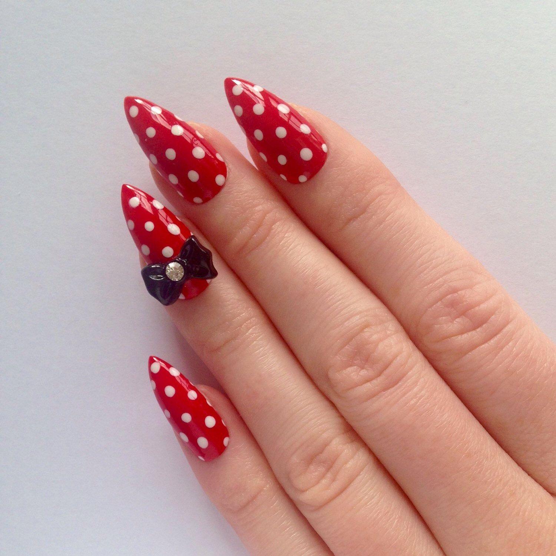 Stiletto nails, Red bow stiletto nails, Fake nails, Press on nails ...