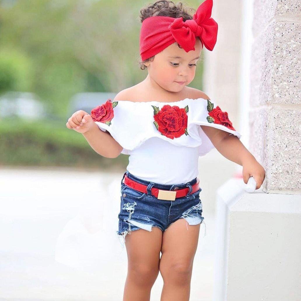 fcc2d3b38d17 Goodlock Toddler Kids Fashion Shirt Baby Girls Off Shoulder 3D Rose ...