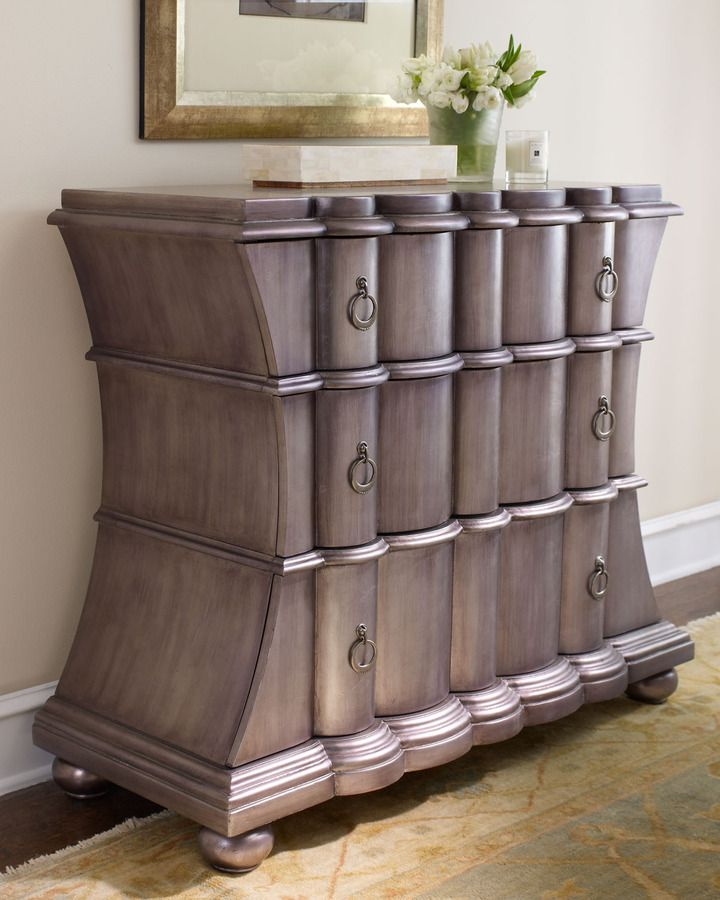 """""""Pewter"""" Chest, Three-drawer chest with scalloped drawer fronts is hand painted in an antiqued pewter finish. Handcrafted of hardwood solids, laminated lumber, and veneers."""