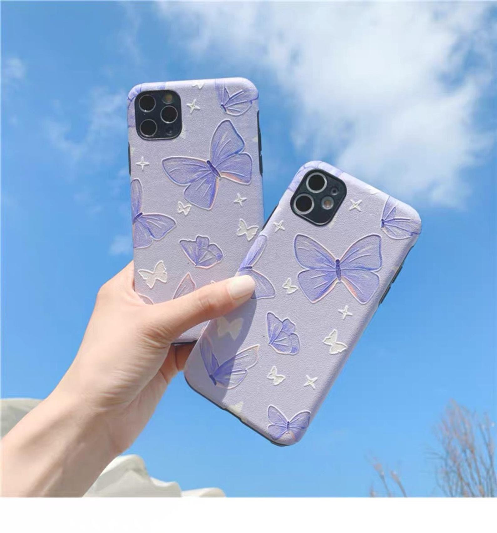 Light purple butterfly iphone pro casesummer floral