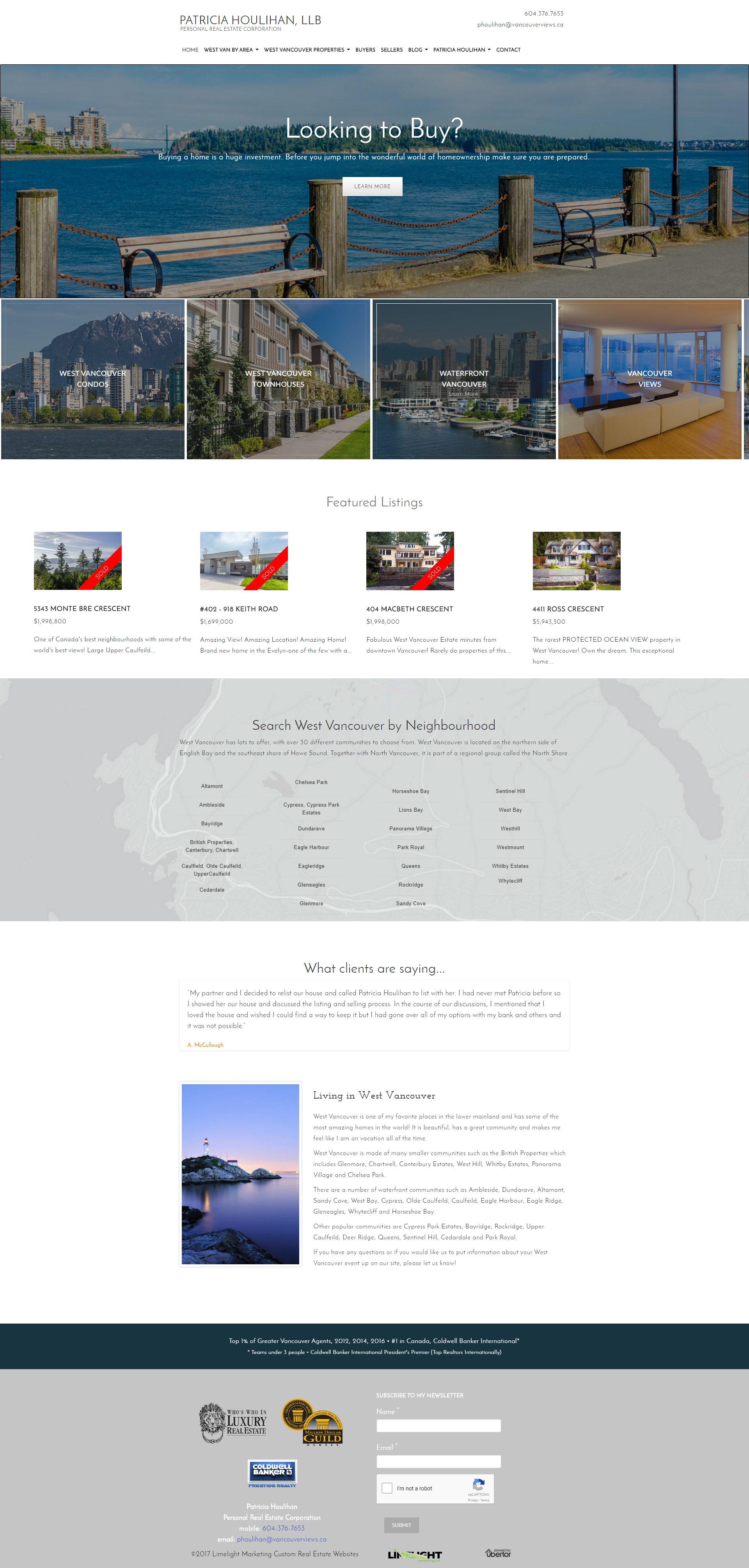 Website Makeover And Update To Responsive And Mobile Ready For West Vancouver Realtor Patricia Houlihan Uses Website Design West Vancouver Website Inspiration