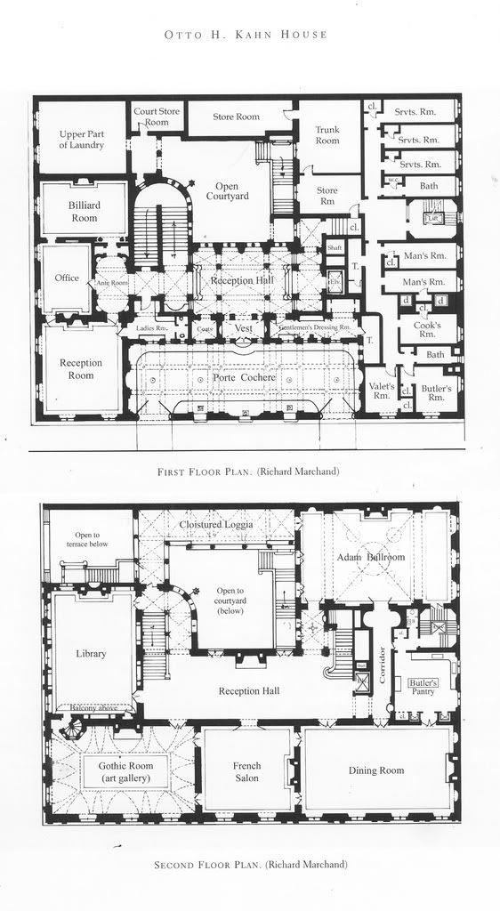 Otto H Kahn House Mansion Floor Plan Architectural Floor Plans Floor Plan Design