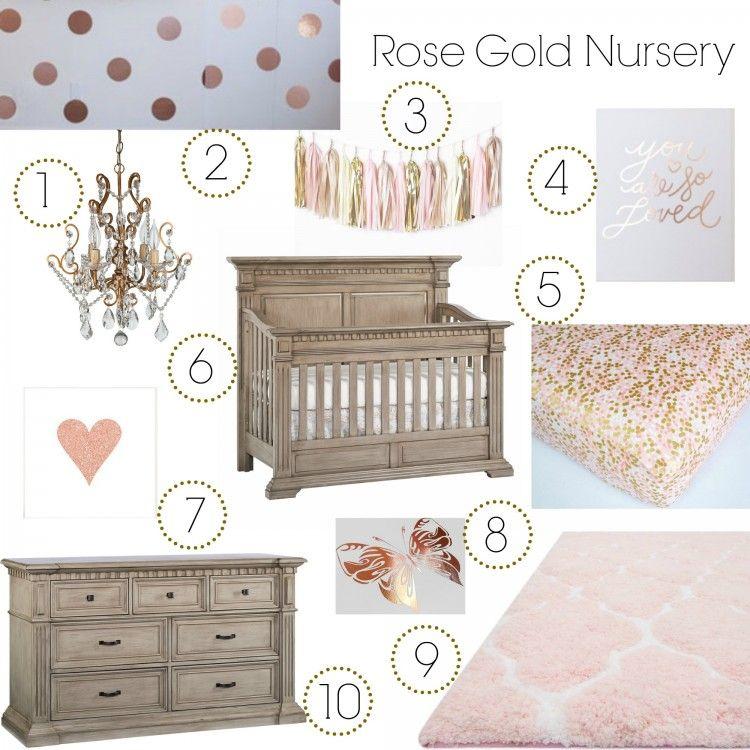 Rose Gold Nursery Inspo Board   Munire Venetian Collection In Driftwood