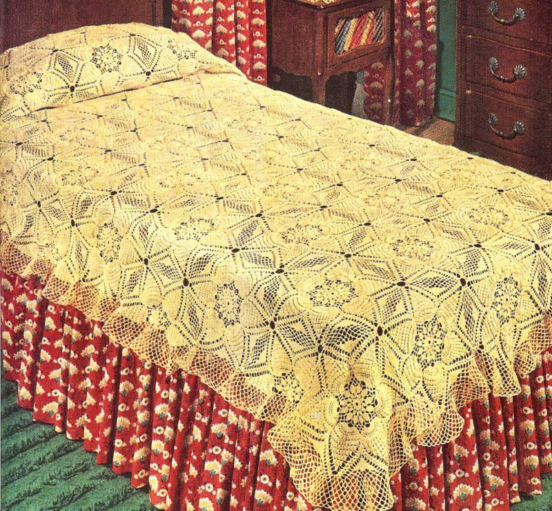 Vintage Crochet PATTERN MOTIF BLOCK Bedspread Pineapple | Blanket ...
