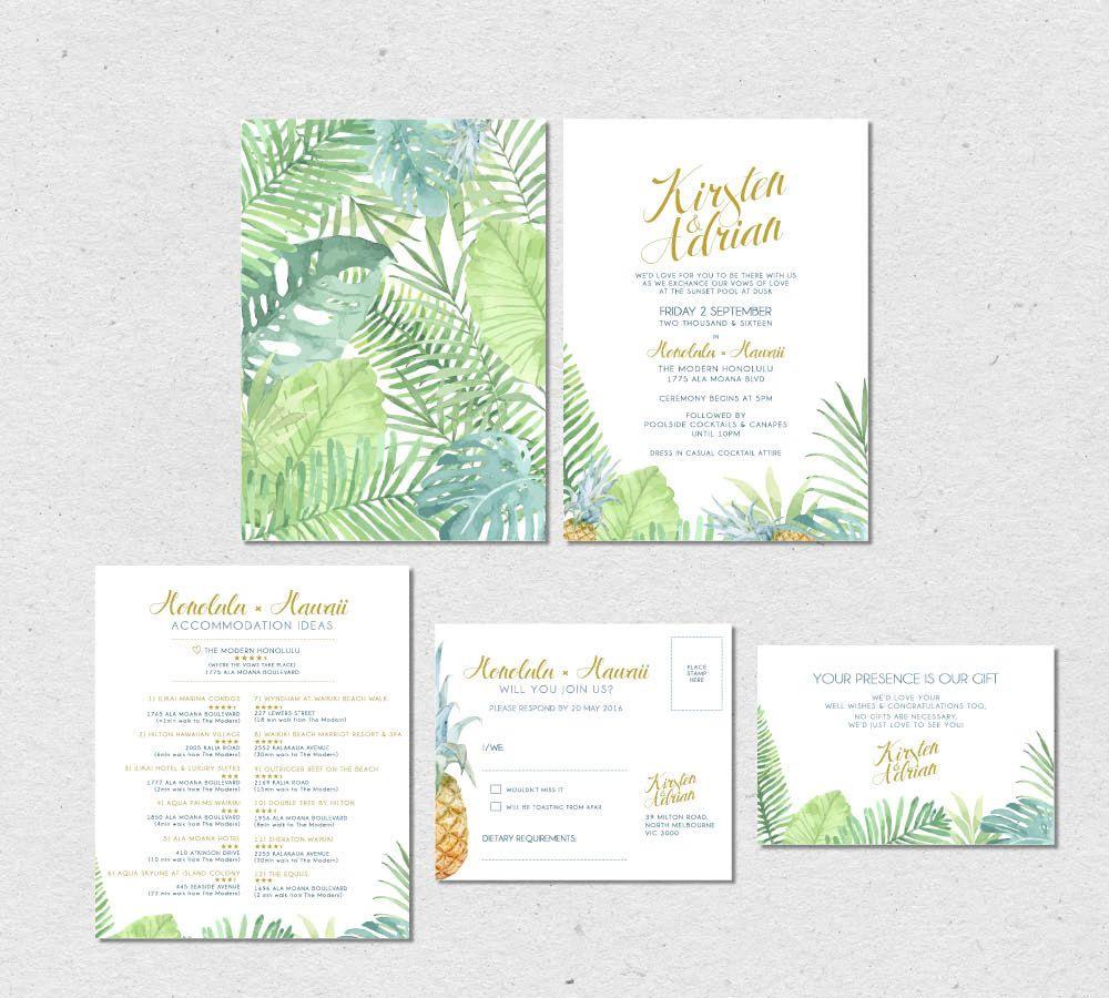 Digital Wedding Invitation - Aloha Tropical Paradise Hawaiian Theme ...