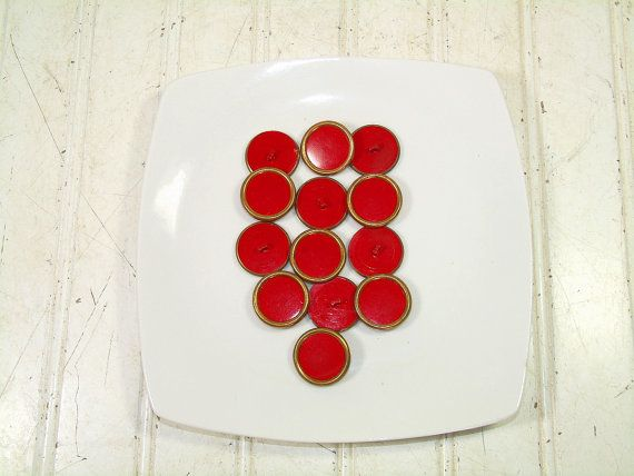 Vintage Large Red Coat Buttons Bakers Dozen - Retro Red Plastic ...