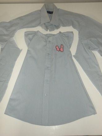 Transformer une chemise dhomme en robe de petite fille.