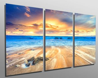 Metal Prints Gorgeous Beach Sunset 3 Panel Split Triptych