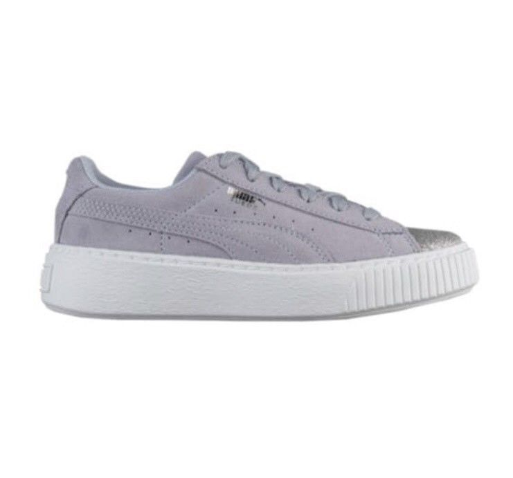 best cheap c5e08 1143b New Puma Suede Platform Glam Sneaker Silver Icelandic Blue ...