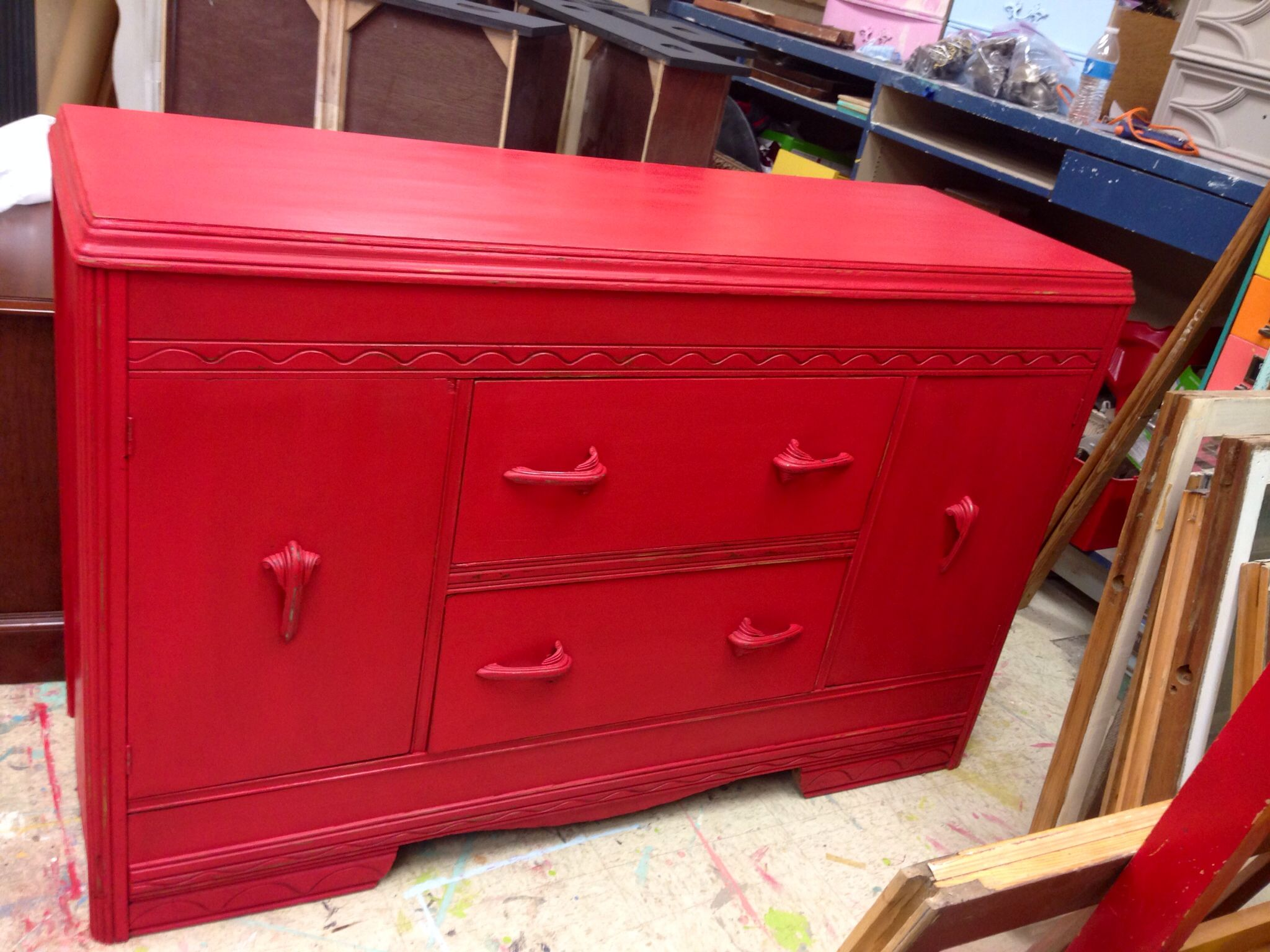 Custom Buffet Completed For A Customer Painted In Fire Engine Red Chalk Paint Www Thevintageatticjenks