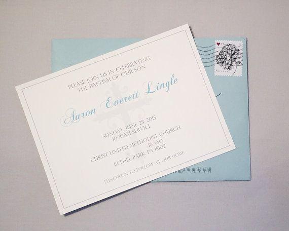 simple elegant baptism invitations for baby boy or baby girl set