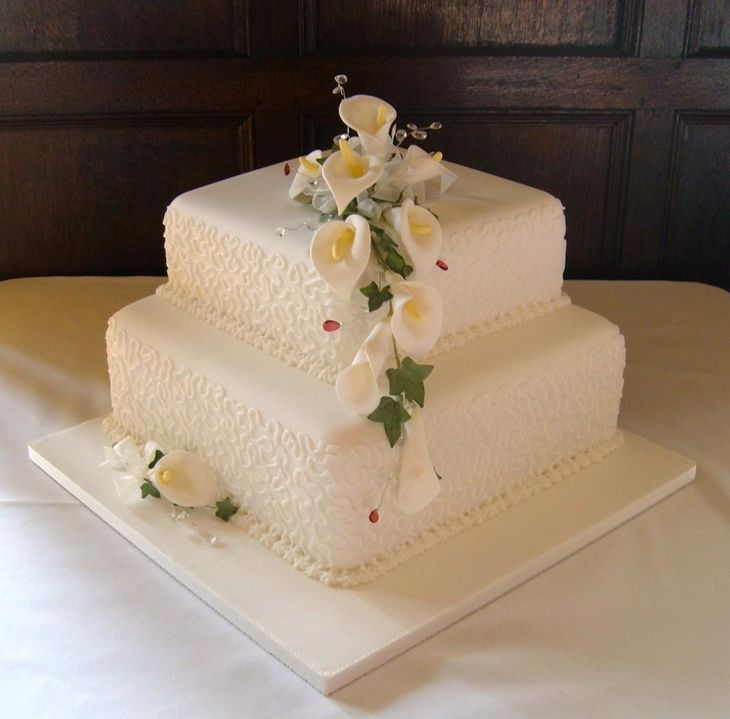 Square Wedding Cake Ideas: Calla Lilly Two Tier Square Wedding Cake