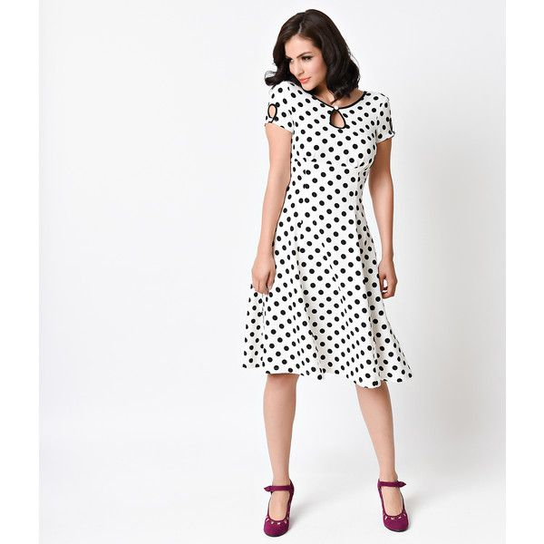 1940s Style White & Black Dotted Wonderwall Cap Sleeve Swing Dress (£54) ❤ liked on Polyvore featuring dresses, white, white swing dress, white polka dot dress, polka dot dress, white cocktail dresses and swing dress