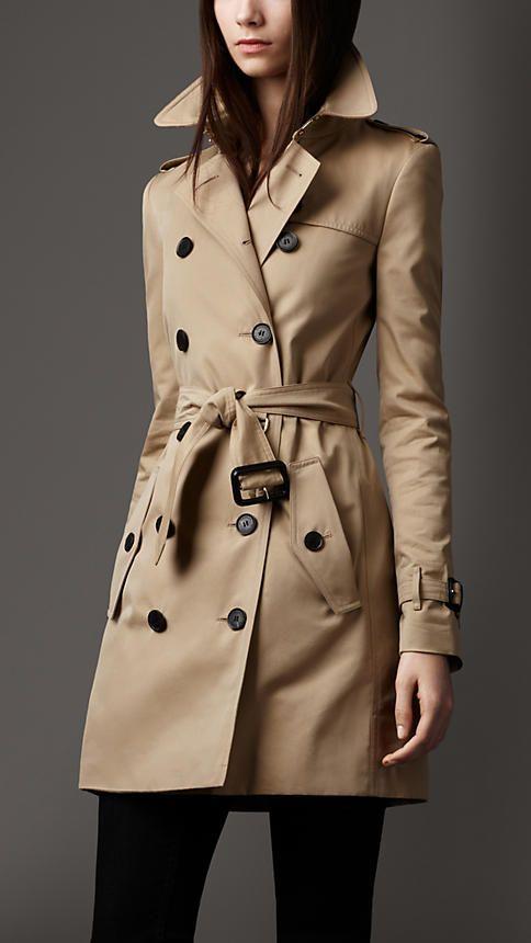 Perfection Burberry Mid Length Wool Lined Trench Coat In Honey Moda Inverno Moda Feminina Moda