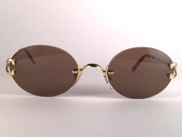 4a452f78b2 Beige New Vintage Cartier Scala 45mm Gold Rimless Brown Lens Case France  Sunglasses For Sale