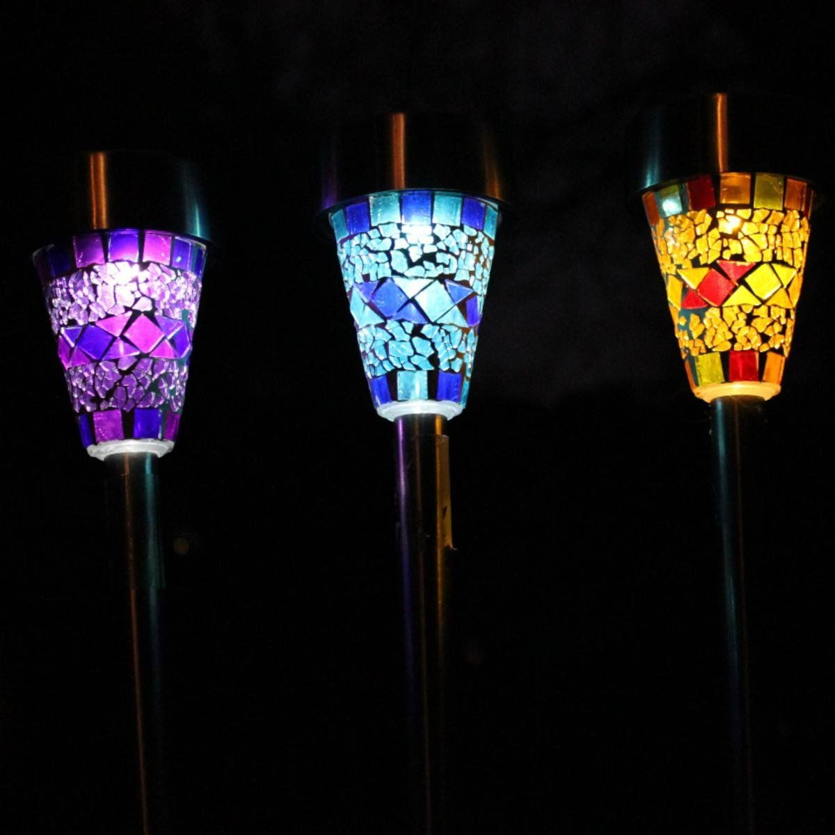 Solar Mosaic Border Garden Post Lights Pack Amazon Co Uk