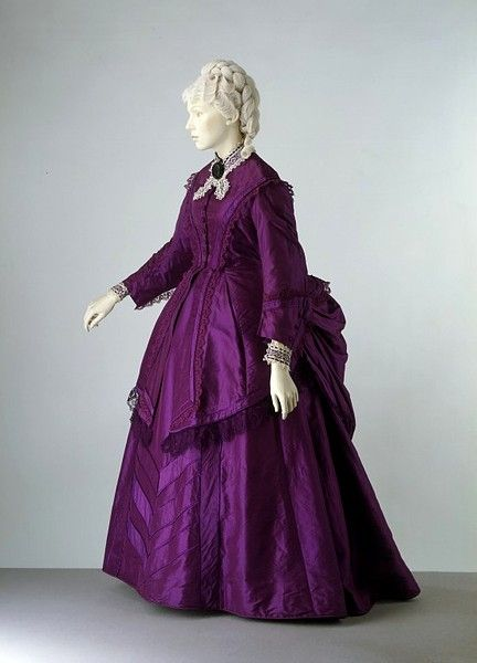 Dress   c. 1870-73  This dress was made of a silk dyed purple with aniline dye. The technology of dyeing fabrics was transformed in the mid-1850s when the British chemist William Perkin (1838-1907) discovered that dyes could be extracted from coal tar. These new aniline dyes became very fashionable. The first was 'Perkin's mauve', followed by a variety of shades of purples and magentas, yellows, blues and pinks. These colours were much more intense than any available from the traditional…