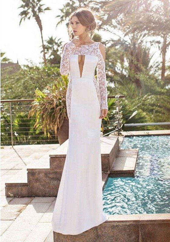 White lace long sleeve long dress