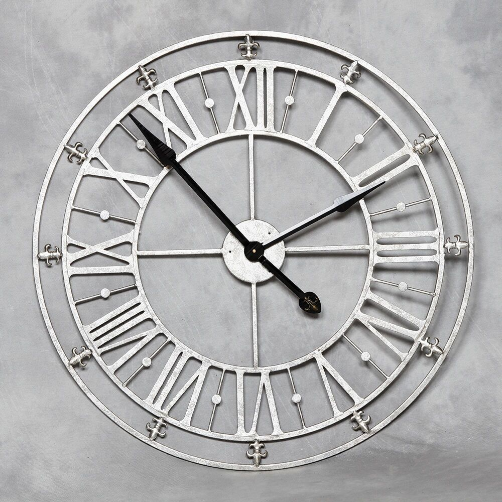 Large round roman numerals silver metal iron wall clockdistressed