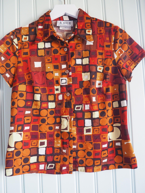 80s Leaf Print Blouse Medium Petite 1980s Long Sleeve Button Down