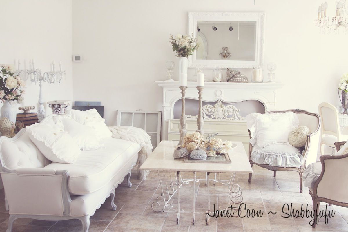 All white rooms french shabbyfufu white living room for French chic living room