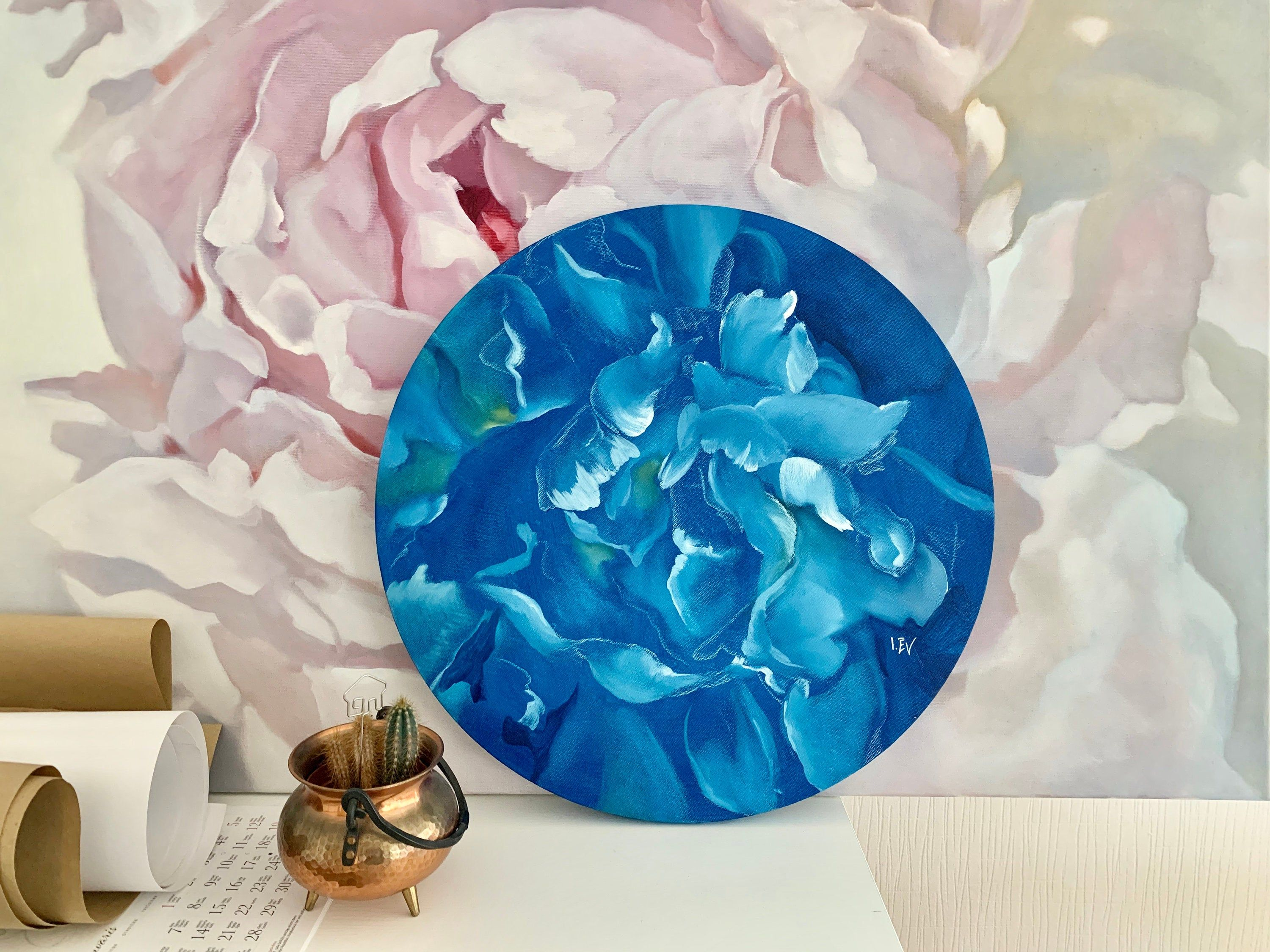 Original Oil Painting White Blue Peony Floral Painting Flower Painting Flower Art Bouquet Flower Peonies Abstract Floral Canvas 20x20