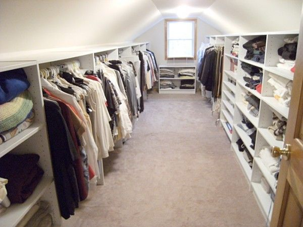 This Would Be A Great Idea For Our Walk In Attic Can Never Have Enough Storage For Clothes With All The Kids Dre Attic Closet Attic Rooms Attic Storage