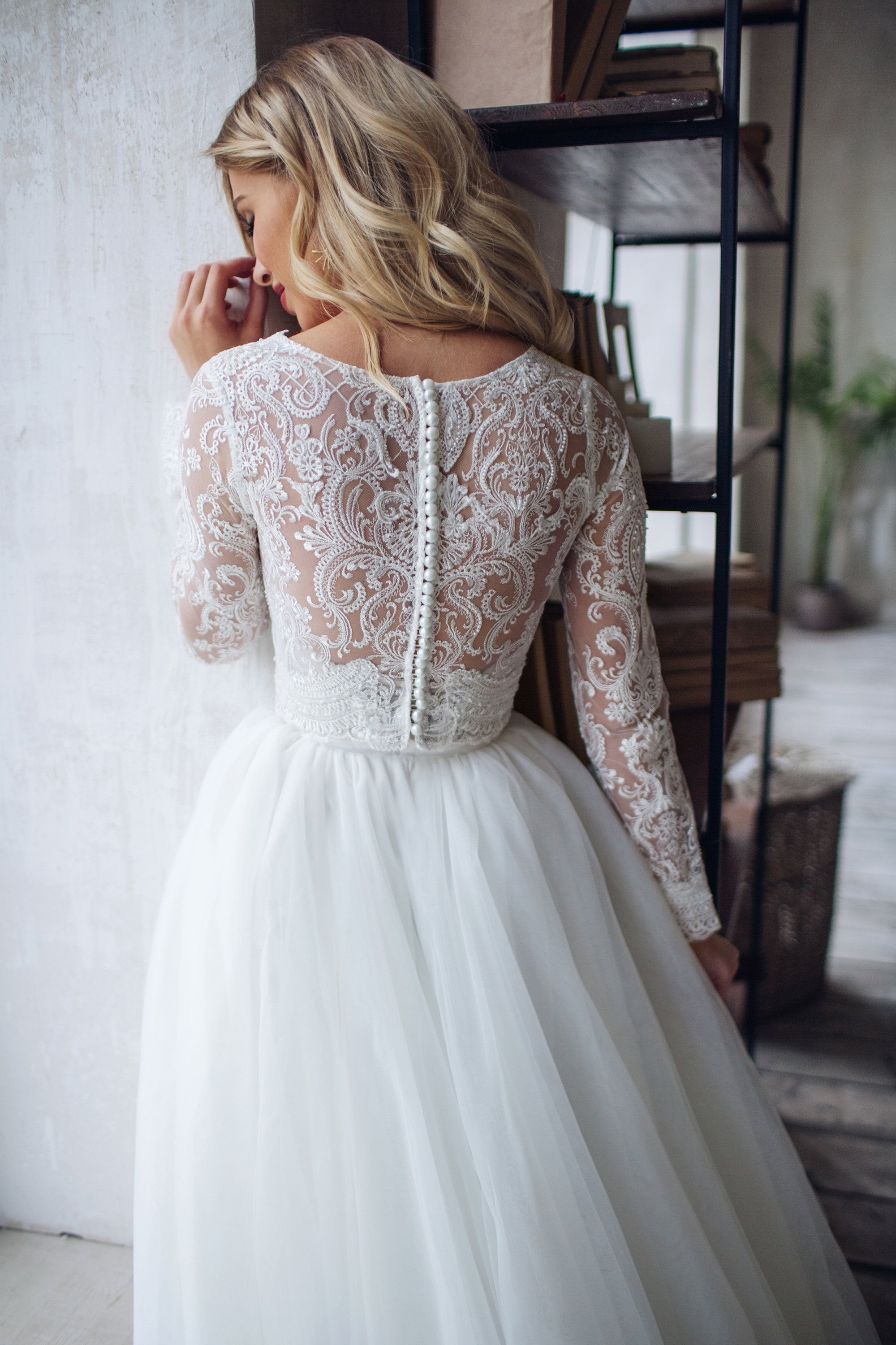 Tulle long sleeve dress LORELEI, bridal separates top and skirt