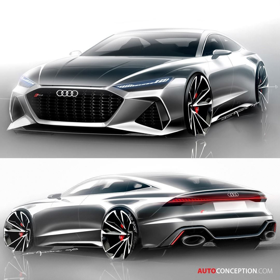 Autoconception Com On Instagram Official Design Sketches Of The 2020 Audi Rs7sportback Powered By V8 Twinturbo Delivering 5 In 2020 Car Audi Automotive Design