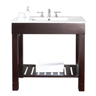 Avanity - Meuble-lavabo Loft de 36 po au fini noyer foncé avec comptoir intégré en porcelaine vitrifiée (Robinet non inclus) - LOFT-VS36-DW - Home Depot Canada