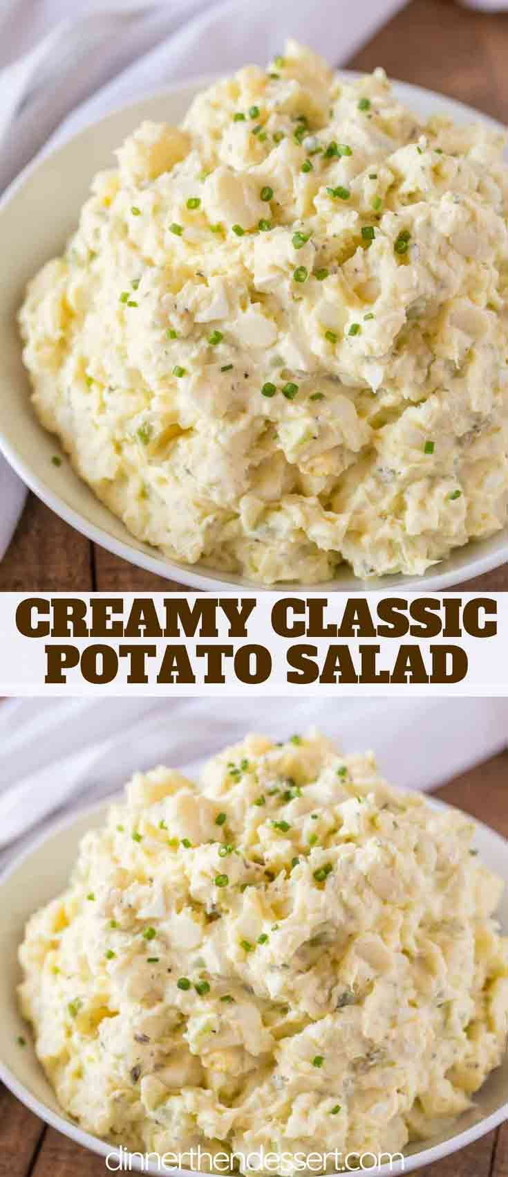 Classic Potato Salad with a creamy mayonnaise dressing with relish, mustard and celery salt coating potatoes and chopped hard boiled eggs. | #potatosalad #summer #sidedish #vegetarian #dinnerthendessert #bbq #picnic