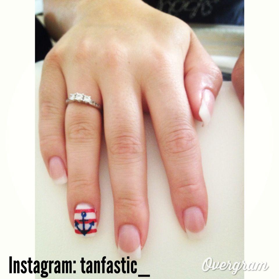 Cute hand painted anchor feature nail on en vogue gel nails @Meg ...