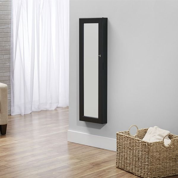 InnerSpace Black Over The Door / Wall Hang Mirrored Jewelry Armoire  Collection By Innerspace