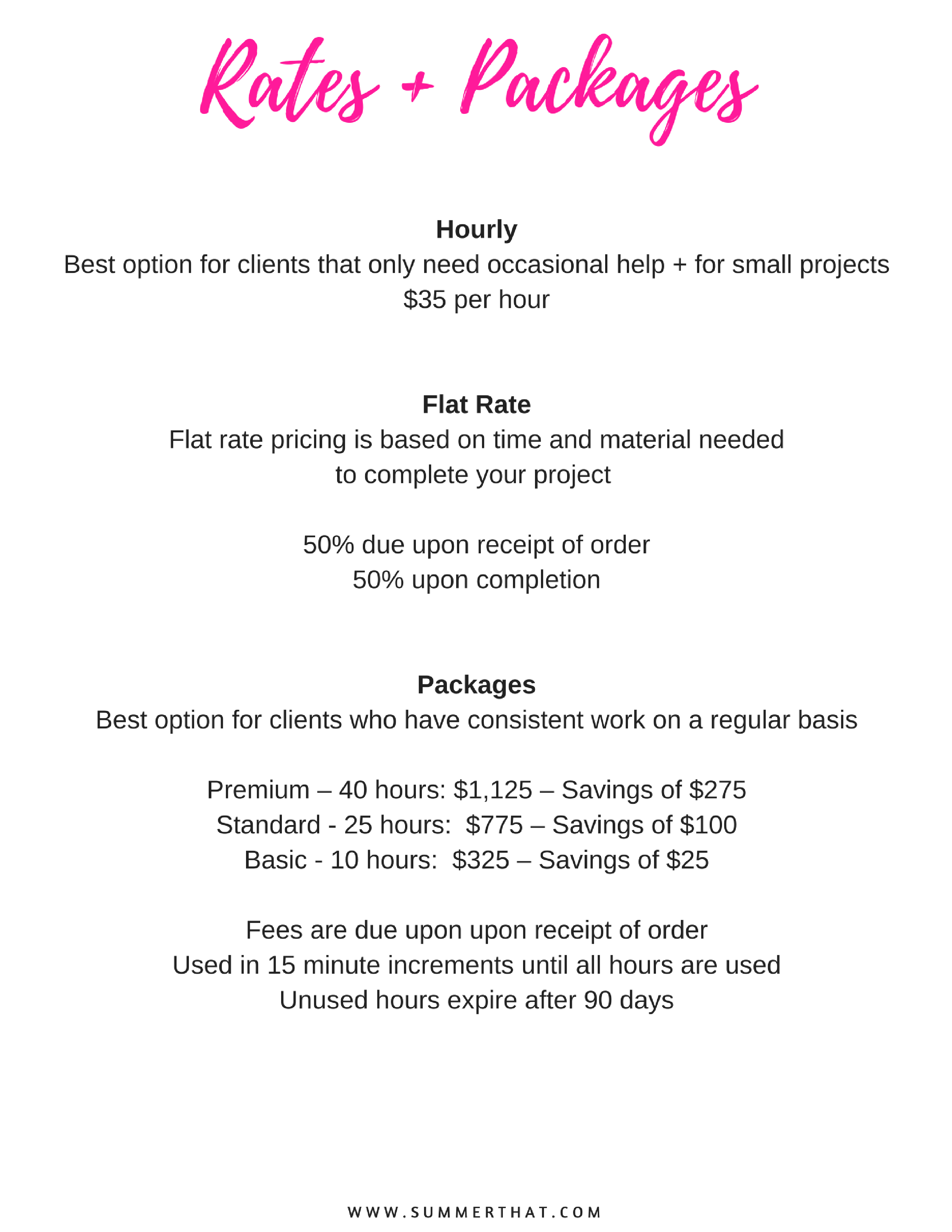 Virtual Assistant Welcome Packet and Contract – Sample Rate Sheet