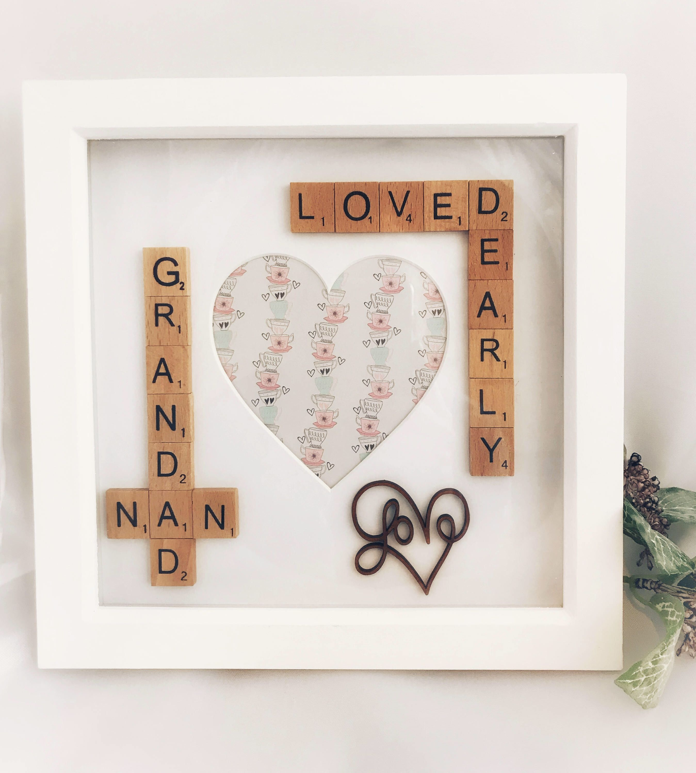 Personalised Printed Coaster Nanny Nan Mum Heart Wreath pretty Christmas gift