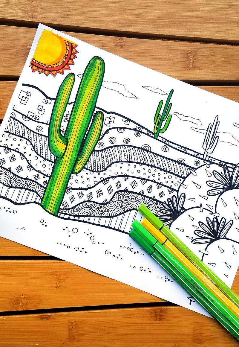 Free Cactus Coloring Page for Adults | Summer boredom, Cacti and ...