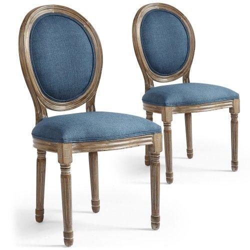 Lot de 2 chaises de style, chaise Louis XVI tissu bleu Salon in