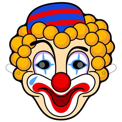 Adorable image with printable clown face