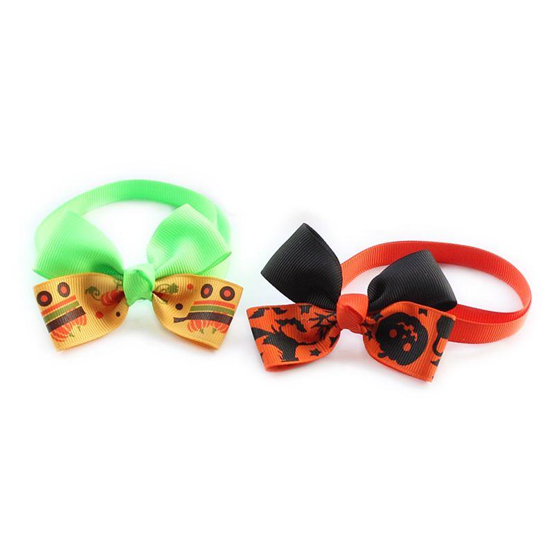 50Pcs Armi store Handmade Pumpkin Ribbon Dog Tie Halloween Dogs Bows