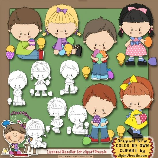 Easter Eggs 1 Clip Art & Digi Stamp Set by Alice Smith