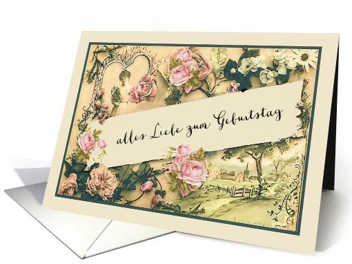 Happy Birthday In German Vintage Roses Card German Cards