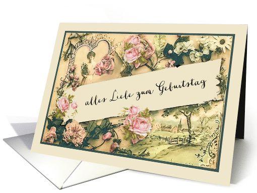 Happy Birthday in German vintage roses card – Birthday Card in German
