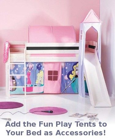white cabin bed with slide pictured here with optional playtents a thuka trendy basic